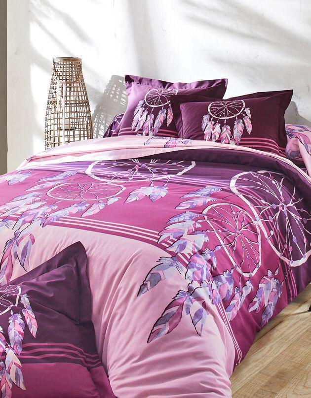 Linge de lit Plumes en coton imprimé attrape-rêves, prune, hi-res