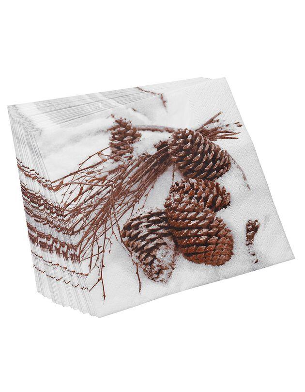 Serviettes papier imprimé pomme de pin - lot de 20, unique, hi-res