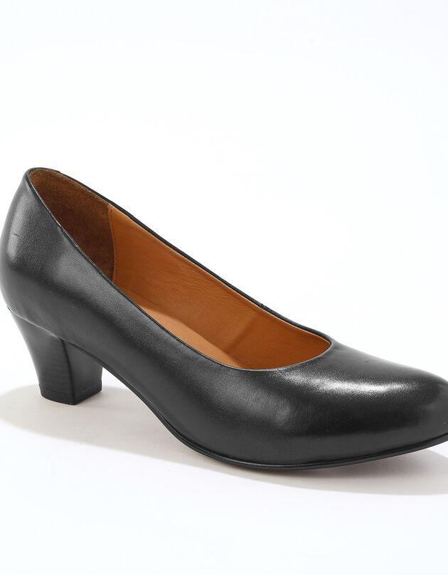 Escarpins en cuir - noir, noir, hi-res