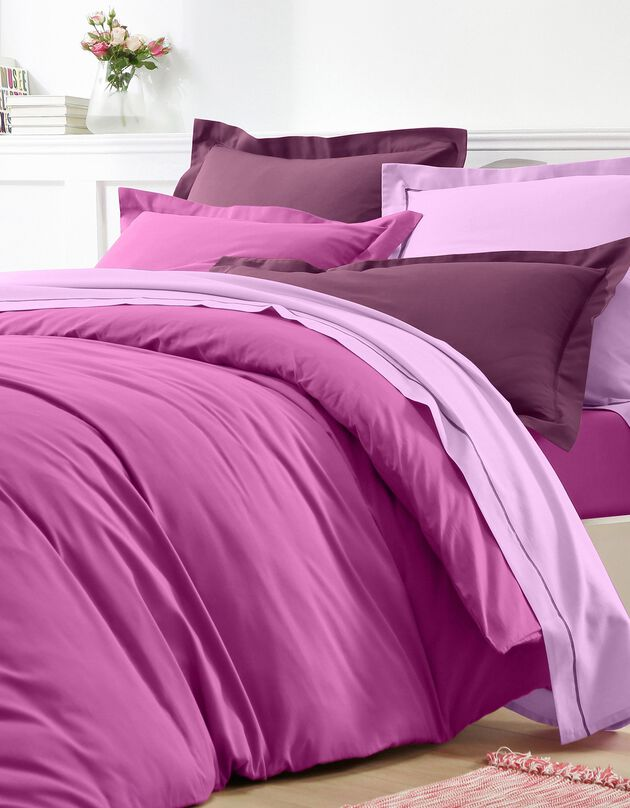 Effen bedlinnen in katoen, Indisch roze, hi-res
