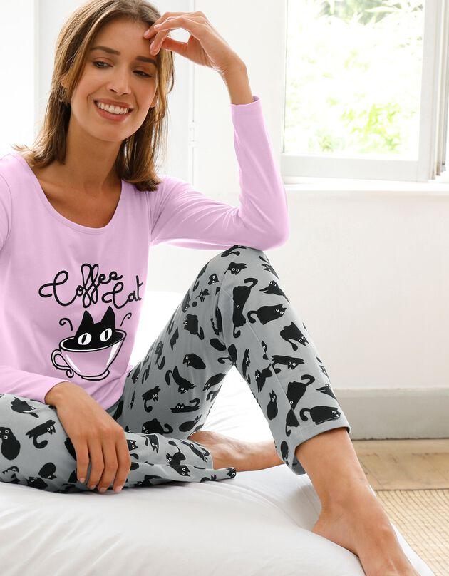 Pyjama met 'Coffee Cat' print - katoen, grijs / parma, hi-res