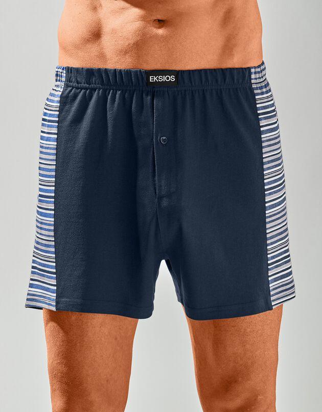 Boxershort met strepenprint opzij - set van 3, marine / grijs / blauw, hi-res