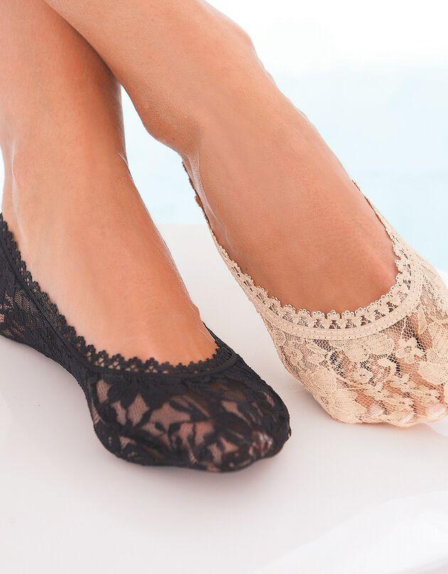 Protège-pieds dentelle - lot de 2 paires, beige, hi-res