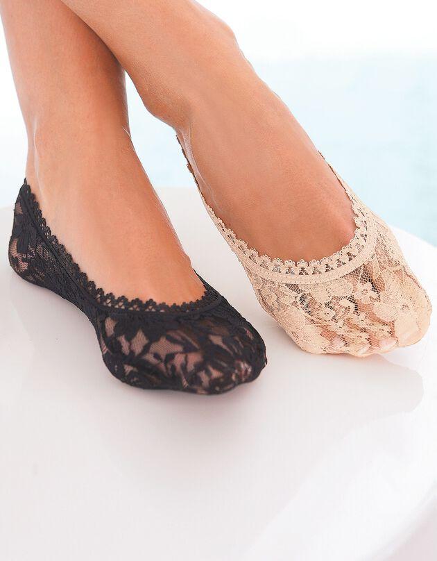 Protège-pieds dentelle - lot de 2 paires, noir, hi-res