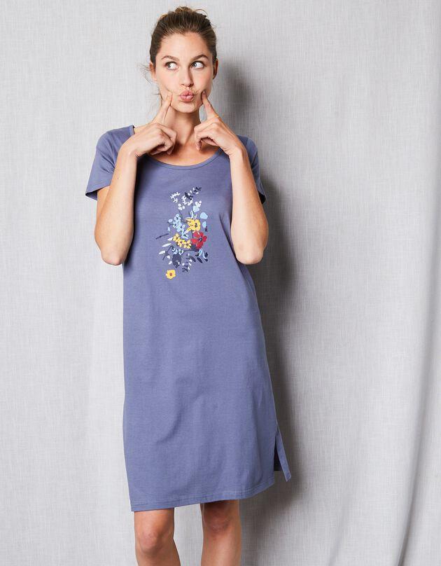 Kort nachthemd met korte mouwen en bloemenmotief, leiblauw, hi-res