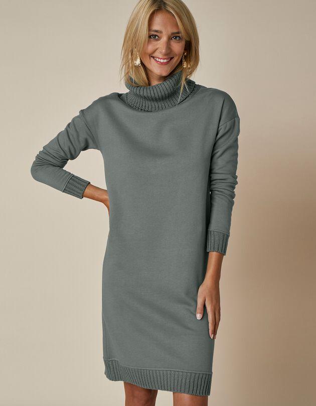 Sweaterjurk in 2 materialen, bronskleur, hi-res