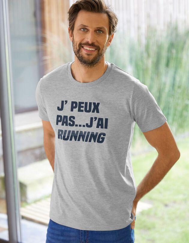 T-shirt met 'running' print, chiné grijs, hi-res