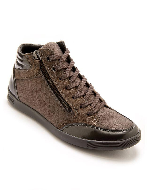 Sneakers met hoge schacht en grote breedte, met veters en rits, in leer - dames, grijs, hi-res