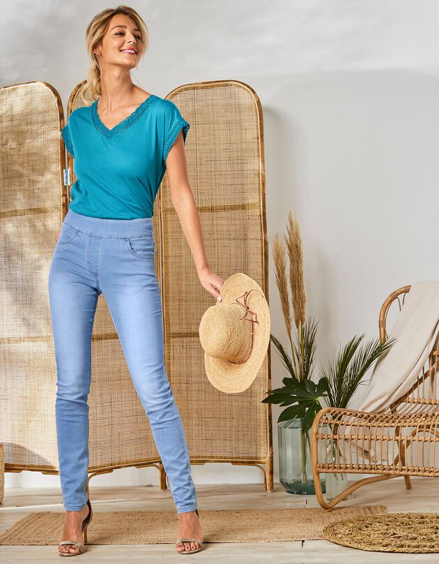 Nauwsluitende jegging in ultracomfortabele jeans, bleached, hi-res