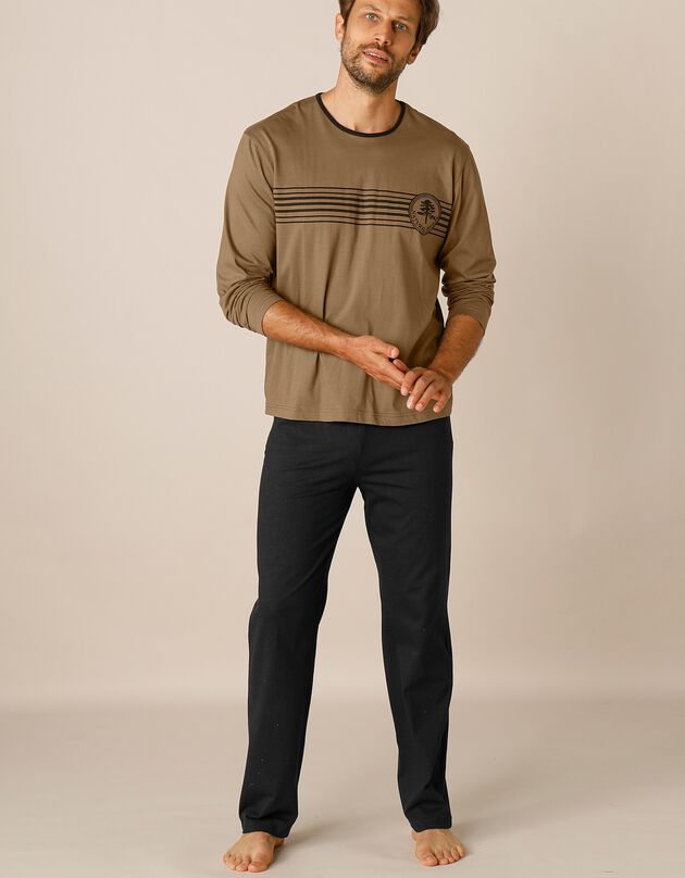 Pyjama jersey coton manches longues, chocolat / noir, hi-res