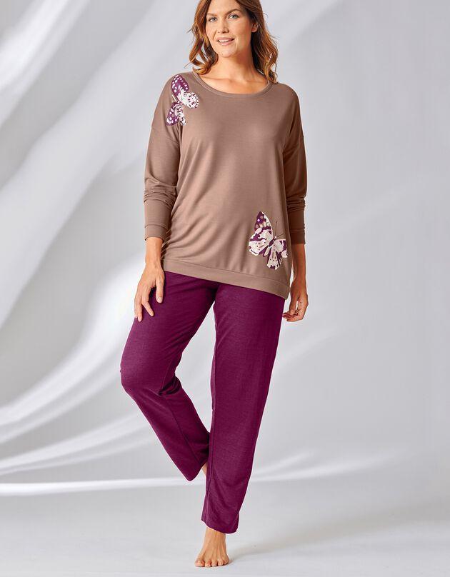 Pyjama molleton imprimé papillon manches longues, taupe / aubergine, hi-res