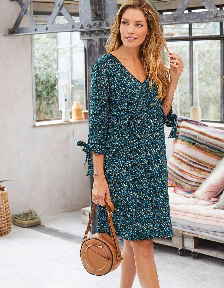 Bedrukte, uitlopende jurk, blauw, hi-res image number 1