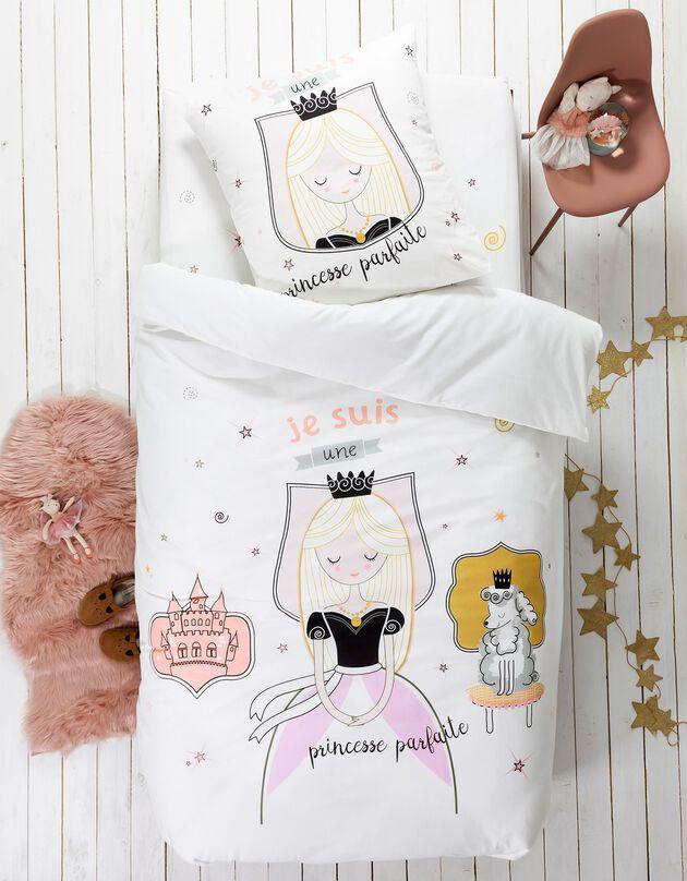Linge de lit enfant Blanche imprimé 1 personne - coton, blanc, hi-res