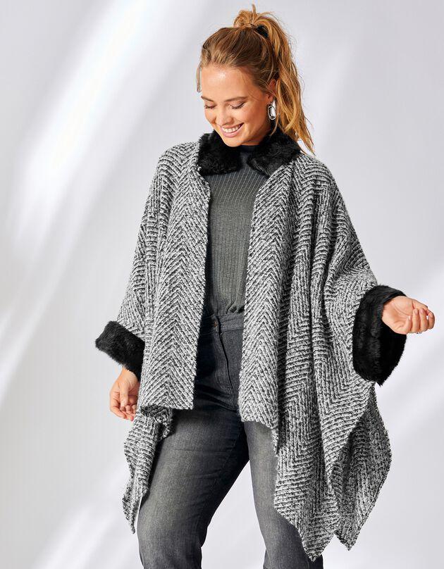 Poncho in tricot, afgewerkt met imitatiebont, zwart / wit, hi-res