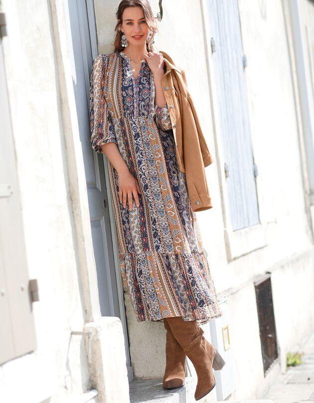 Robe longue imprimée manches longues blousantes, indigo / caramel, hi-res
