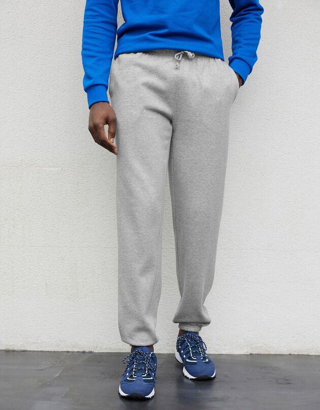 Pantalon jogging molleton bas élastiqué, gris chiné, hi-res