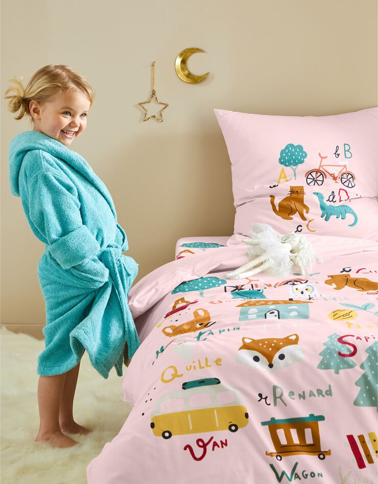 Bedlinnen voor kinderen met 'Alfabet' motieven, in katoen, roze, hi-res image number 0