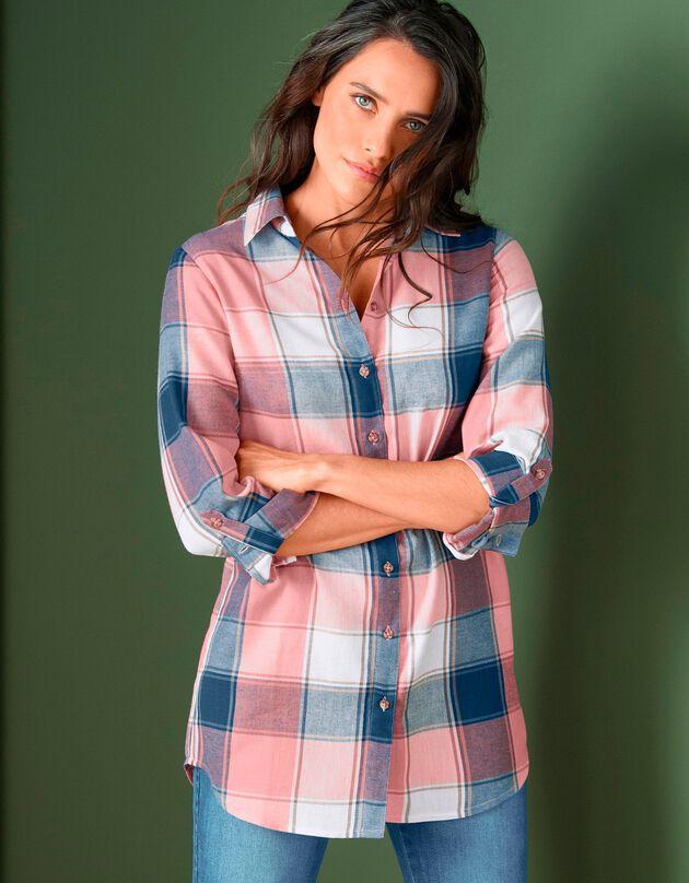 Lang hemd in geruit flanel, indigo / roze, hi-res