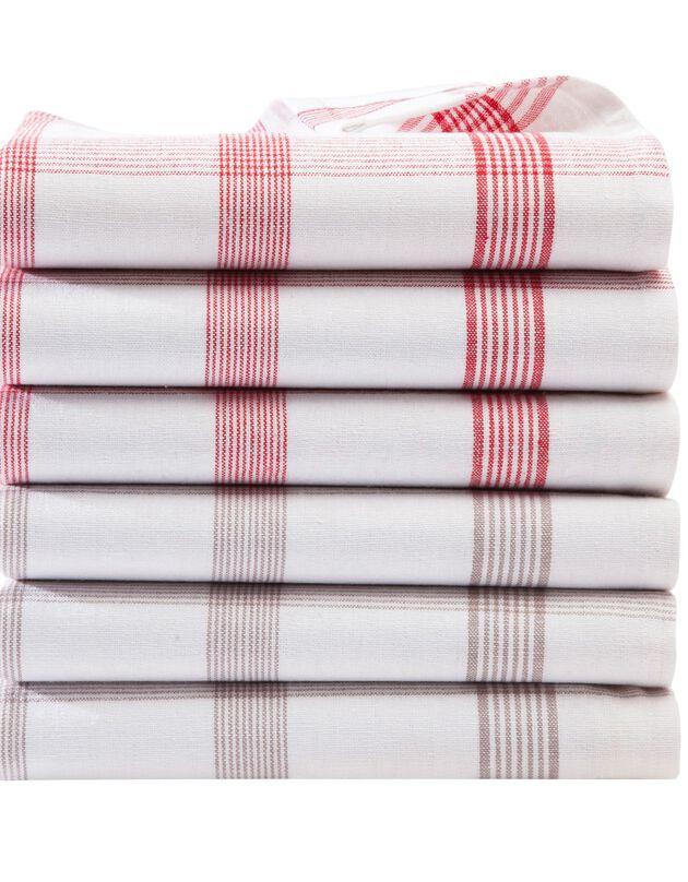 Torchons carreaux coton tissé teint - lots, ficelle + rouge, hi-res