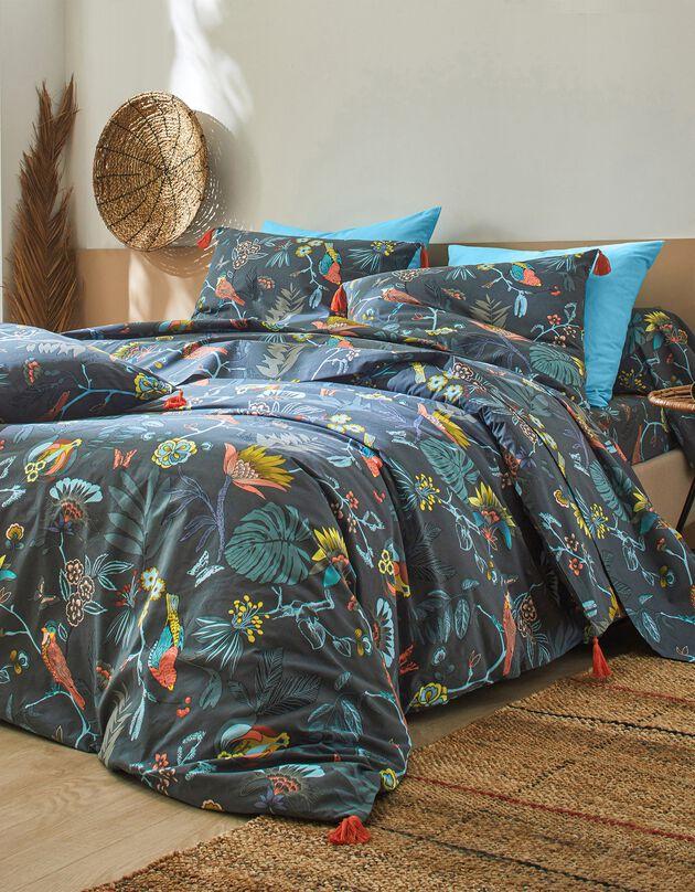Linge de lit Amelia en coton imprimé oiseaux et finitions pompons, vert canard, hi-res