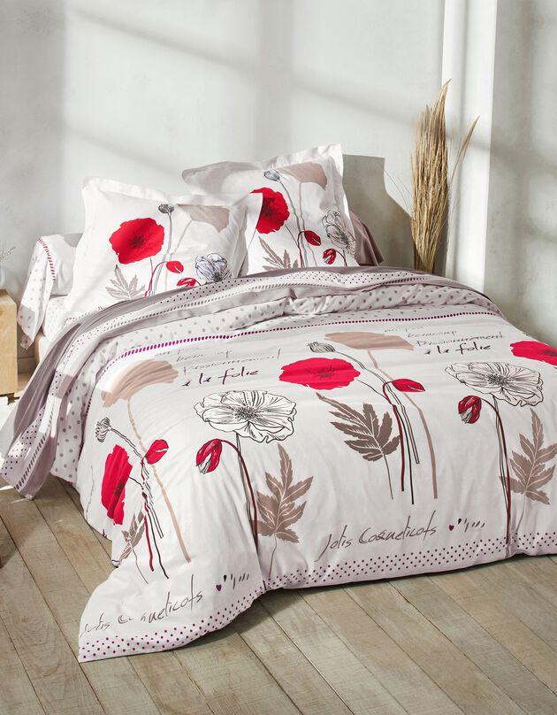 Linge de lit Coquely en polycoton à motifs coquelicot, blanc, hi-res