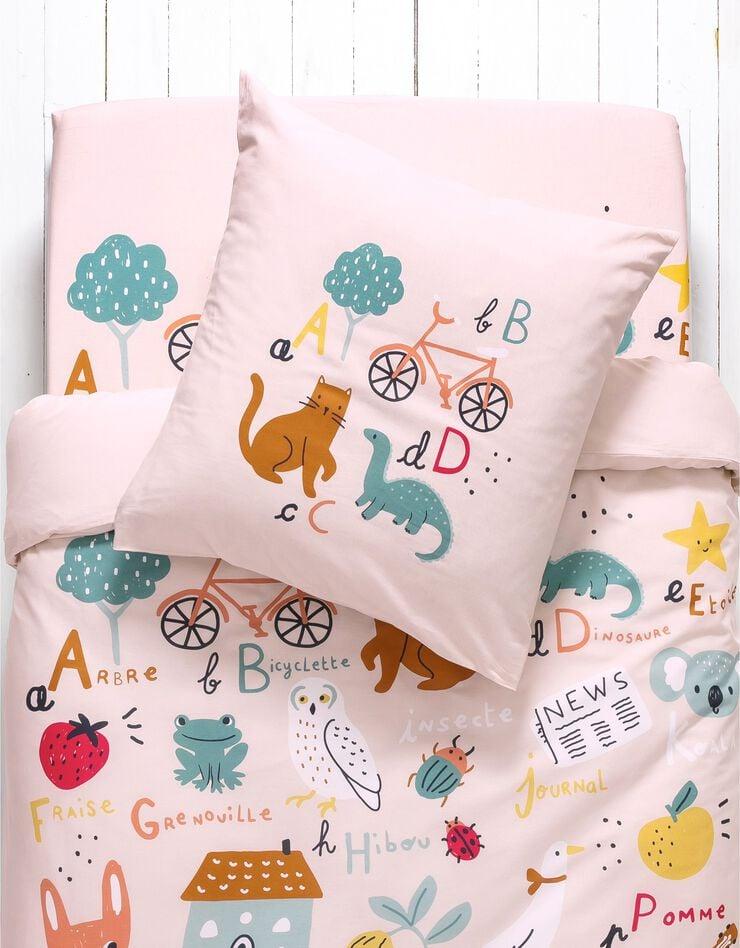 Bedlinnen voor kinderen met 'Alfabet' motieven, in katoen, roze, hi-res image number 2