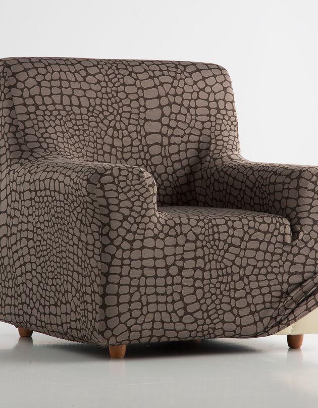 Housse de fauteuil et canapé extensible jacquard, marron, hi-res