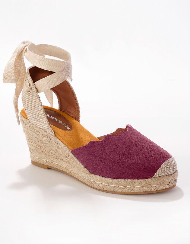 Sandalen met sleehak en striklintje - bordeaux, bordeaux, hi-res