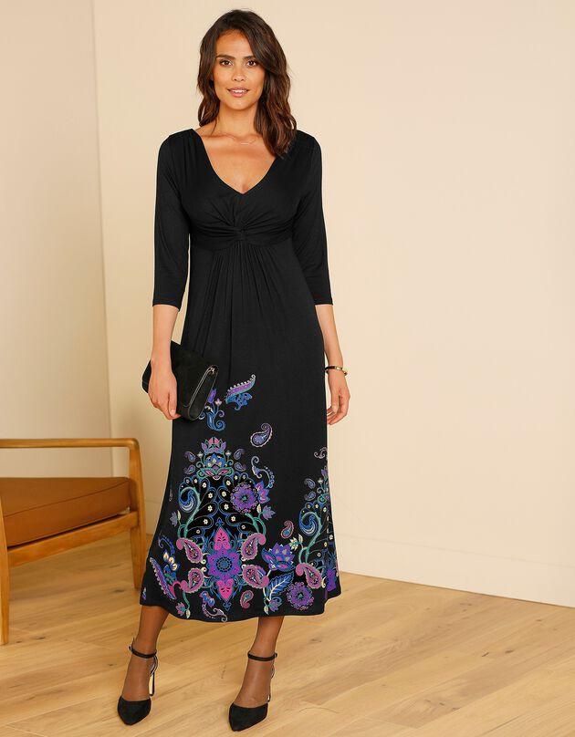 Lange, effen en soepele jurk - 3/4-mouwen, zwart / violine, hi-res