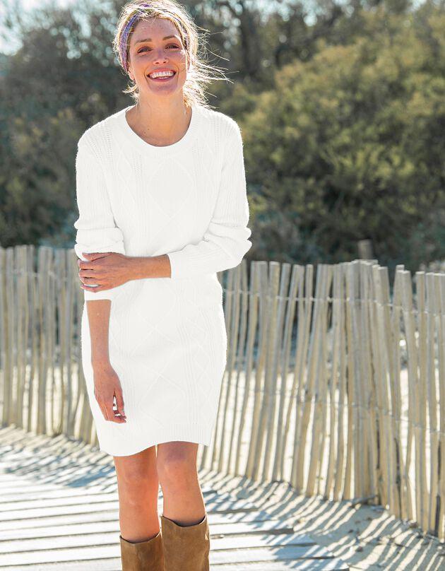 Trui-jurk met lange mouwen en kabelmotieven, ecru, hi-res
