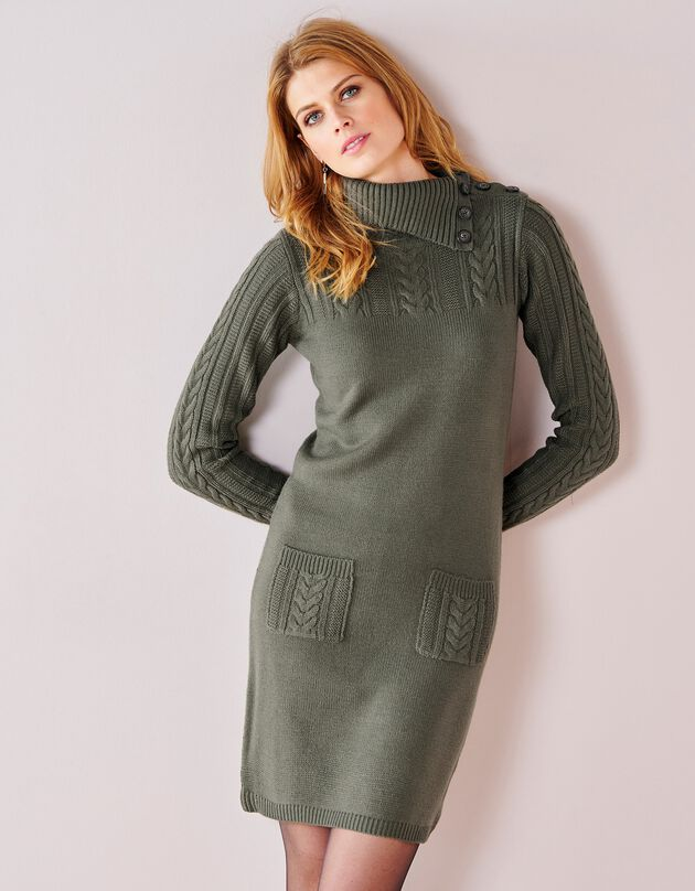 Trui-jurk in kabeltricot, kaki, hi-res