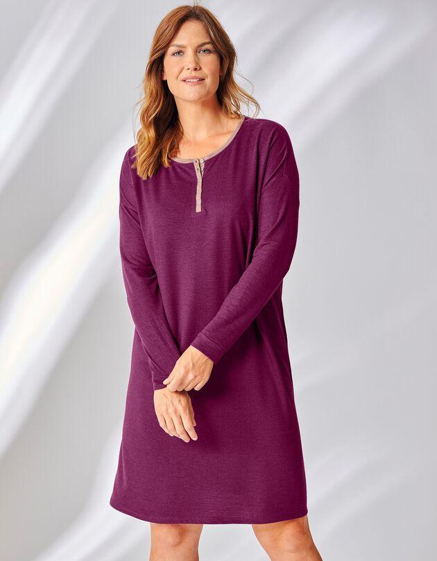 Chemise de nuit courte molleton manches longues, aubergine, hi-res