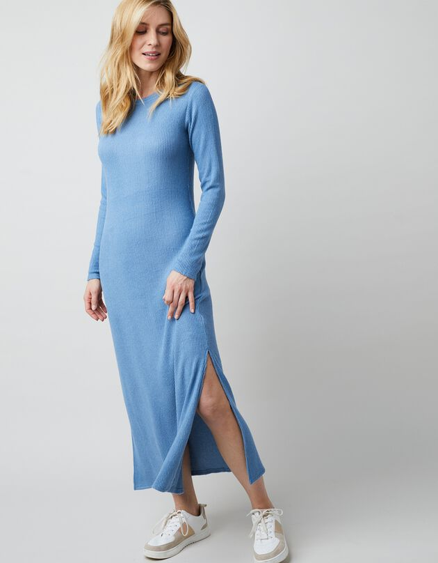 Robe longue maille côtelée - coupe droite, bleu, hi-res