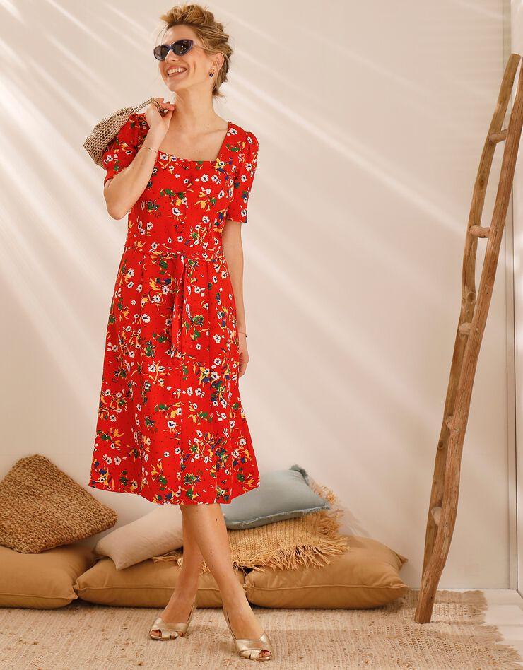 Robe col carré imprimée fleurs, rouge / blanc, hi-res image number 1