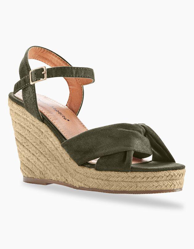 Sandalen met sleehak, bronskleur, hi-res