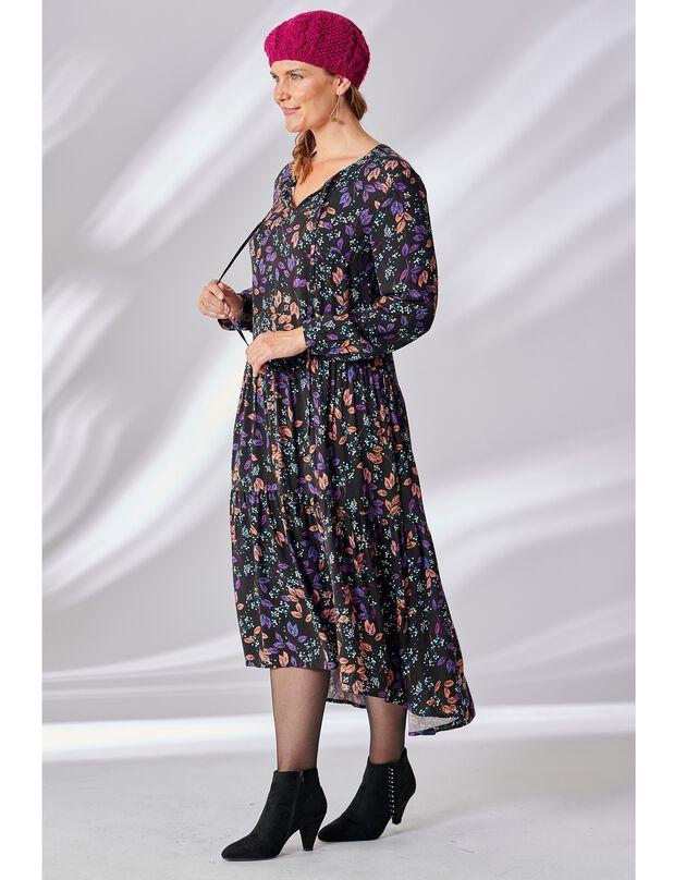 Robe longue imprimée, noir / violine, hi-res