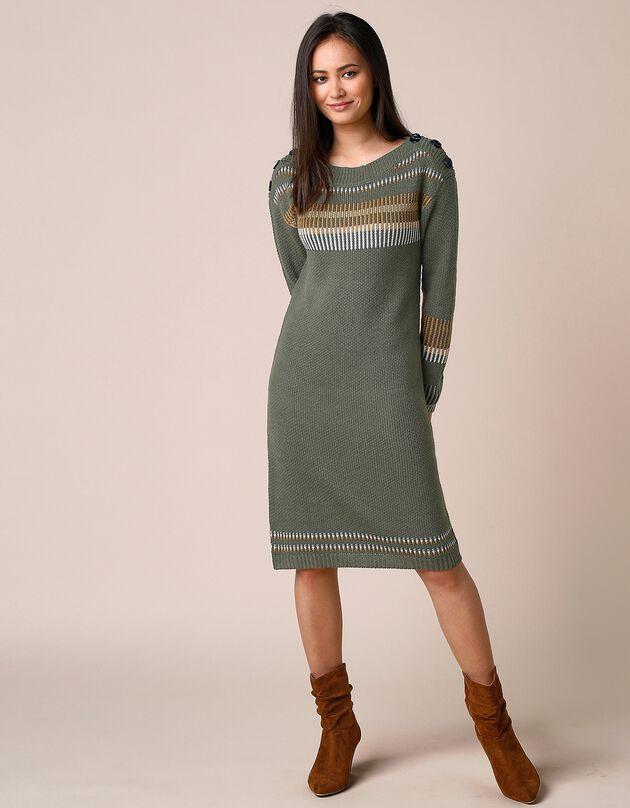 Trui-jurk met jacquardmotieven en boothals, knoopsluiting, bronskleur / honing, hi-res