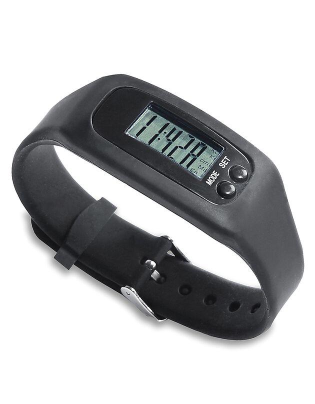 Horloge met stappenteller, zwart, hi-res