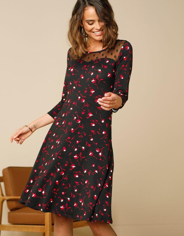 Robe danseuse décolleté plumetis - imprimé fleuri, noir / rouge, hi-res