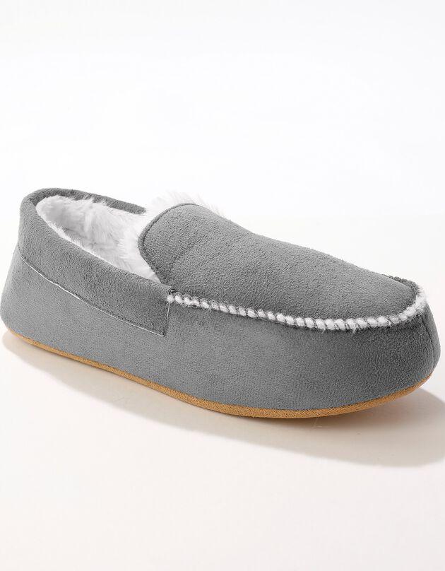 Pantoufles fourrées style mocassin, gris, hi-res
