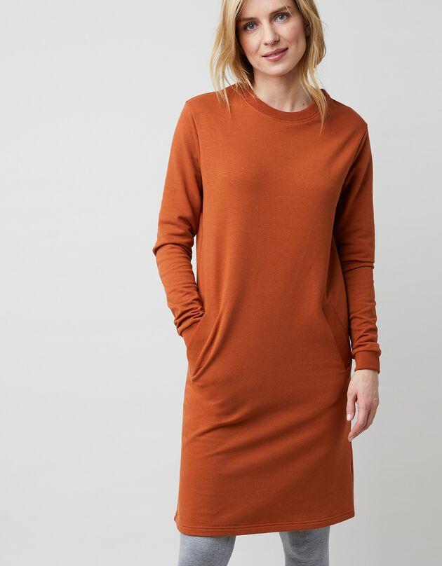 Sweaterjurk in molton - karamel, karamel, hi-res