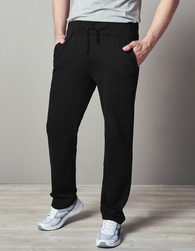 Pantalon jogging molleton bas droits, noir, hi-res
