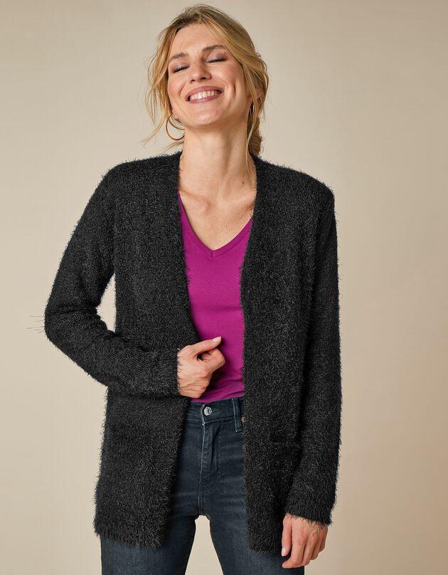 Lang vest in harig tricot, zwart, hi-res