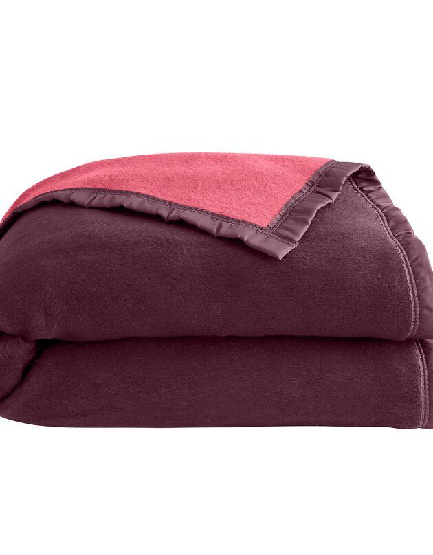 Tweekleurig deken, aubergine, hi-res