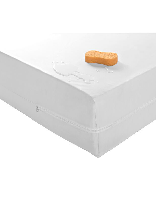 Waterafstotende matrashoes in pvc, wit, hi-res