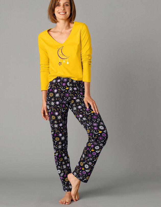 Pantalon pyjama imprimé taille élastiquée, noir, hi-res