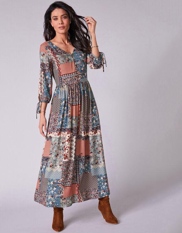 Lange jurk met patchworkprint en V-hals, groen / indigo, hi-res