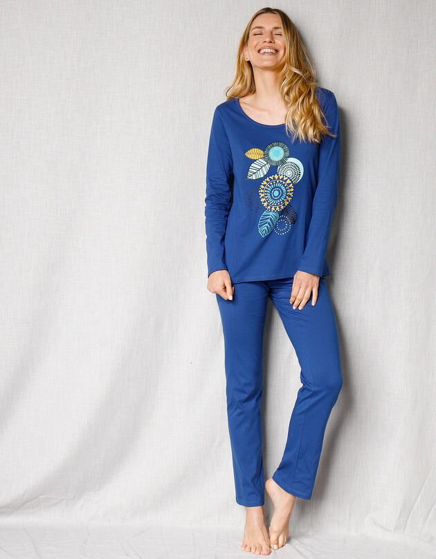 """Pyjama manches longues motif """"rosaces"""", bleu, hi-res"""