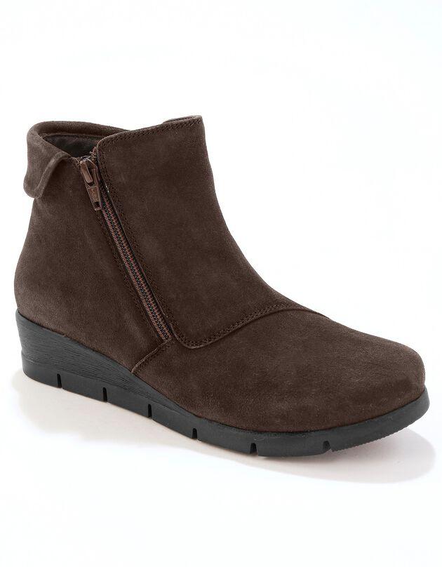 Leren boots met sleehak - comfortabele breedte, bruin, hi-res