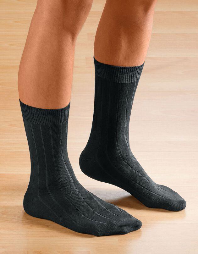 Niet-striemende sokken - set van 2 paar, zwart / zwart, hi-res